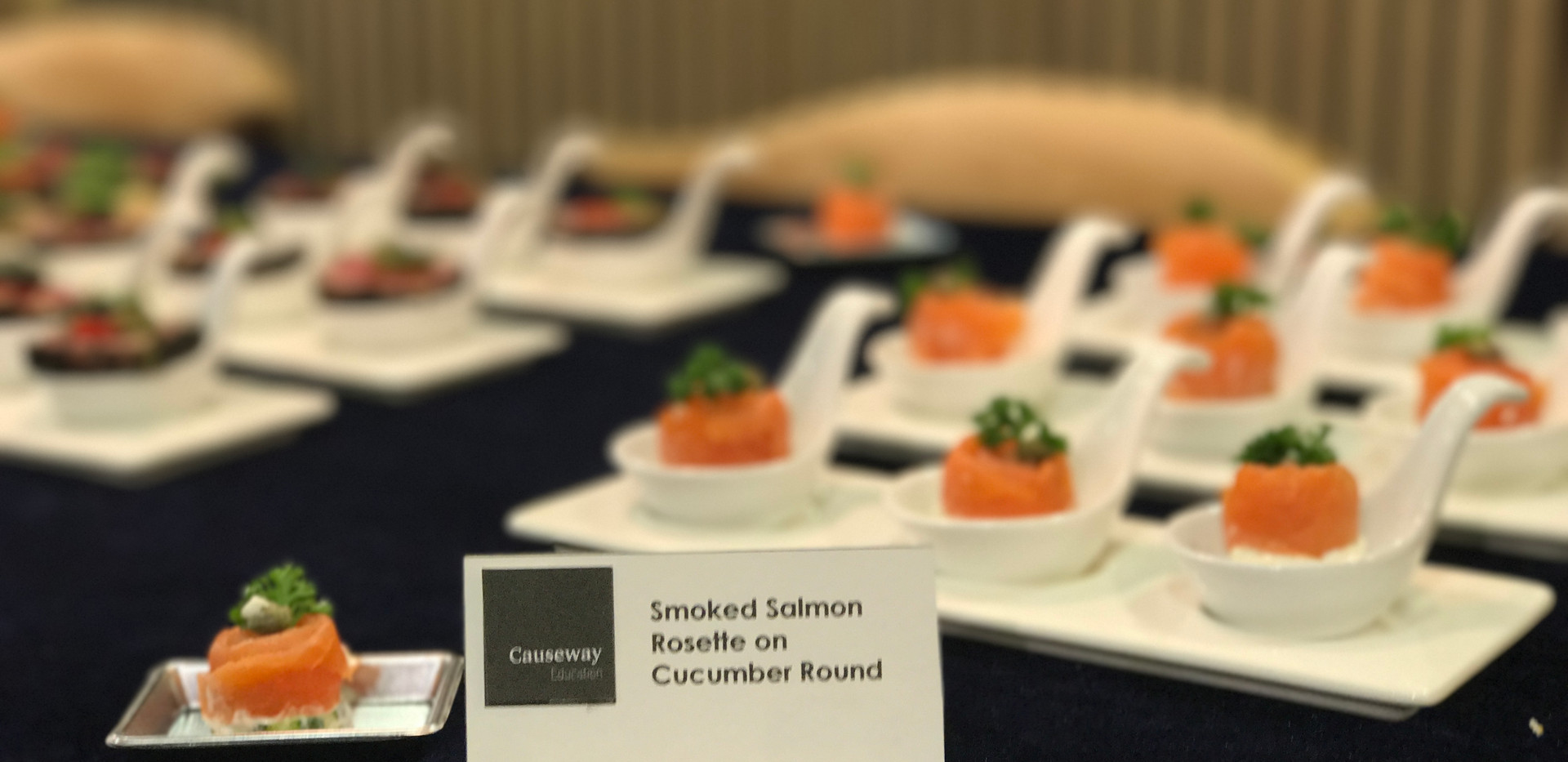 Smoked salmon Rosette on Cucumber Round