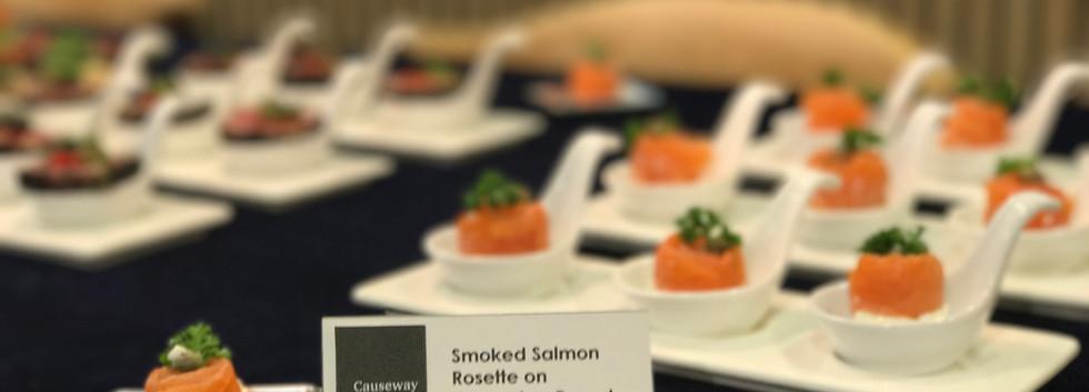 Smoked salmon Rosette on Cucumber Round