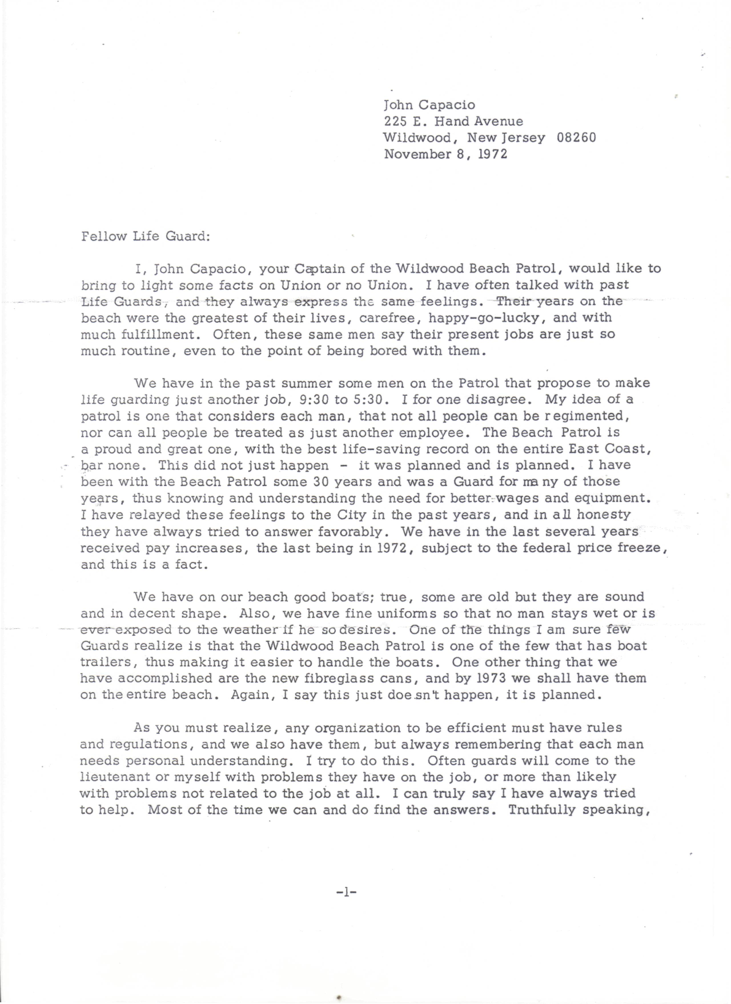 Letter from John Capacio (November 8, 1972)