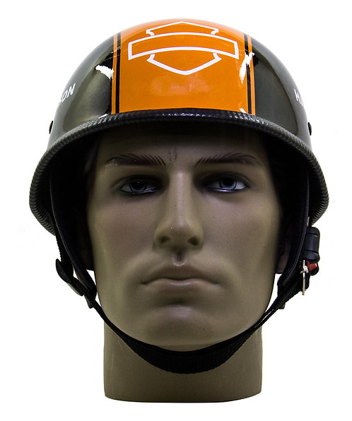 Capacete Custom M34 - Preto&Laranja Out+Bar&Shield - M34C051