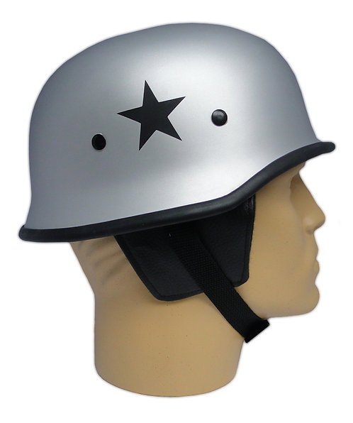 Capacete Custom M34 - Prata com Estrela Preta - M34C007