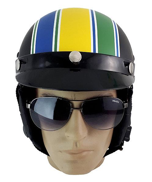 Capacete Custom Classic Preto Airton Senna CCC078