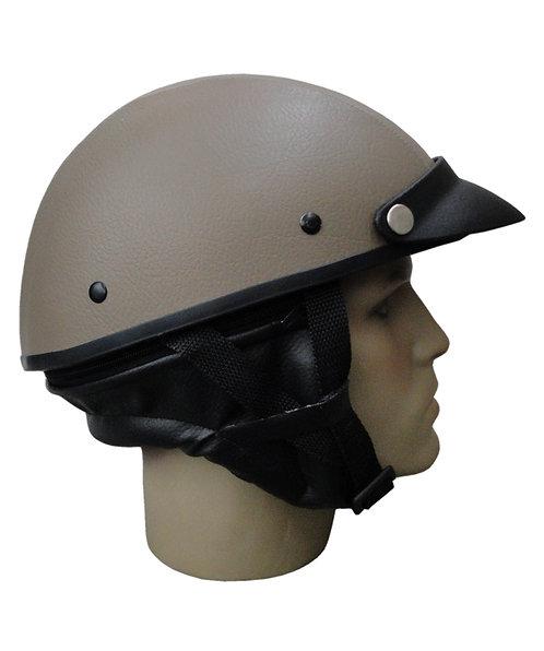 Capacete Custom Classic Couro Bege + Protetor e Pala Preto CCC071