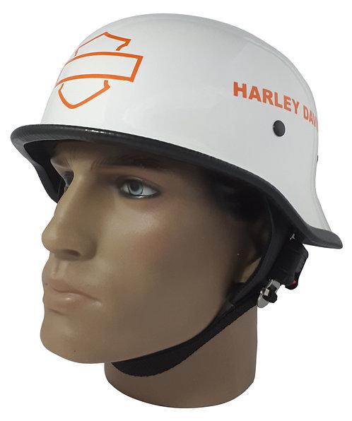 Capacete Custom M34 - Branco Out+B&S+Harley Rt Lr  - M34022