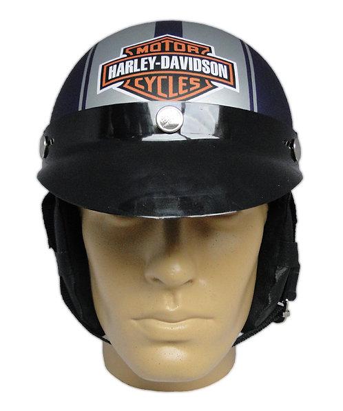 Capacete Custom Classic Harley Davidson Azul & Prata (B&S & Number 1)