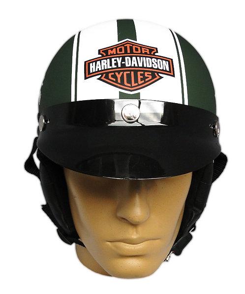Capacete Custom Classic Harley Davidson Verde & Branco (Bar&Shield & Skull)