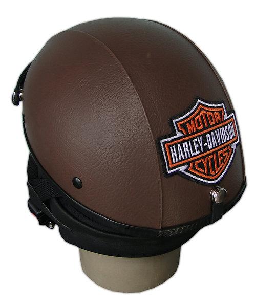 Capacete Custom Classic Harley Davidson Couro Marrom