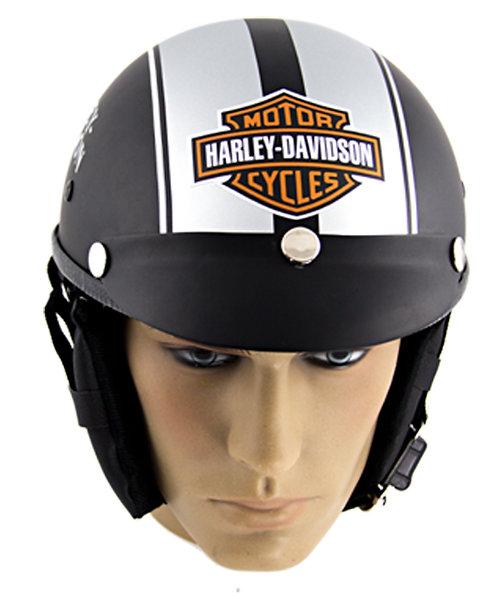 Capacete Custom Classic Harley Davidson Preto & Prata (Skull HD)