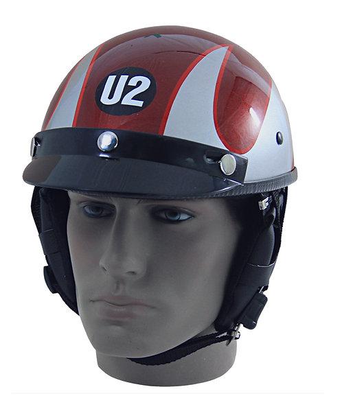 Capacete Custom Classic Vermelho + Listras Prata + Logo U2 CCC060