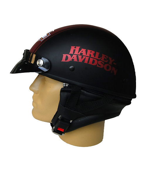 Capacete Custom Classic Harley Davidson Preto & Vermelha (Bar&Shield & Number 1)