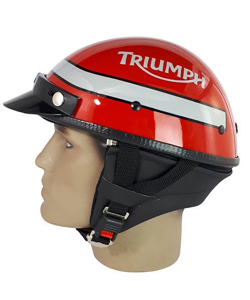 Capacete Custom Classic Triumph Vermelho + Lista Horizontal Prata CCC062