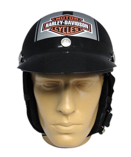 Capacete Custom Classic Harley Davidson Preto & Prata (B&S & Number 1)