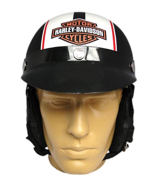 Capacete Custom Classic Harley Davidson Preto & Branco (B&S Number 1 + Line Red)
