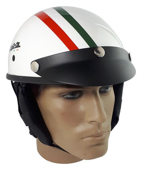 Capacete Custom Classic Vespa Branco Faixas Itália CCC064