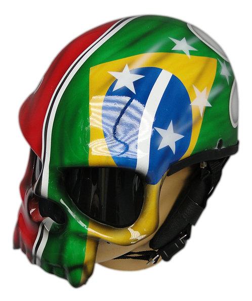 Capacete Caveira Bandeira Brasil e Pernambuco
