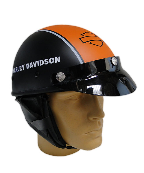 Capacete Custom Classic Harley Davidson Preto & Laranja (Bar & Shield)