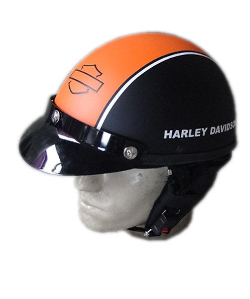 Capacete Custom Classic Harley Davidson Preto & Laranja (HD Outline + Number1)