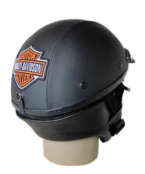 Capacete Custom Classic Harley Davidson Couro Preto (Logo B&S Bordado)