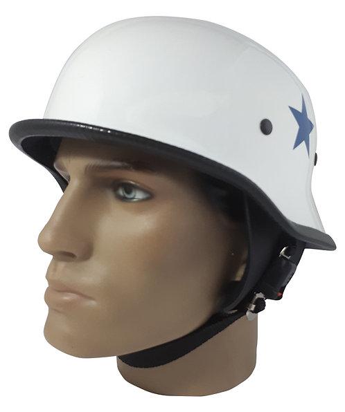 Capacete Custom M34 - Branco & Estrela Azul Lateral - M34026
