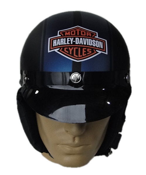 Capacete Custom Classic Harley Davidson Preto & Azul (Bar&Shield & Number 1)
