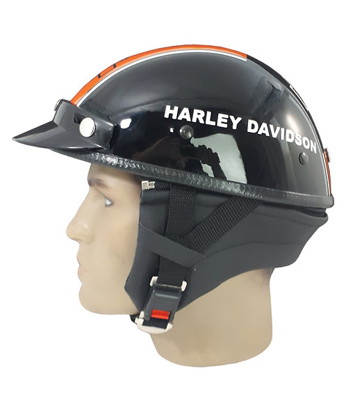 Capacete Custom Classic Harley Davidson Preto + 1 Faixa Laranja CCC066