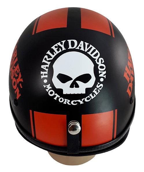 Capacete Custom Classic Harley Davidson Preto & Laranja (Bar&Shield&Number 1)
