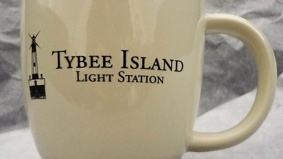 Cream & Black Tybee Lighthouse Mug