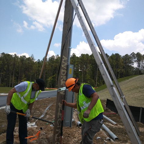 Installation of utility pole and meter