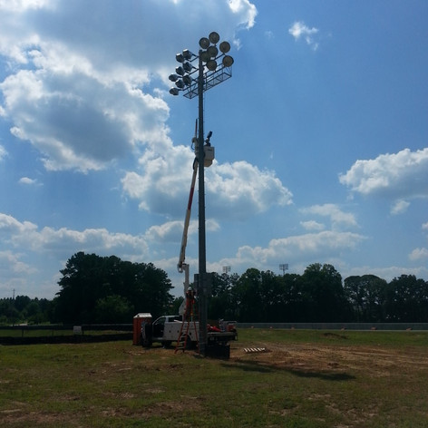 Installation of stadium poles and fixtures at the local college