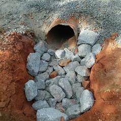 Culvert install on right-of-way road