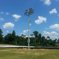 Installation of stadium poles and fixtures