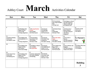 March Activity Calendar