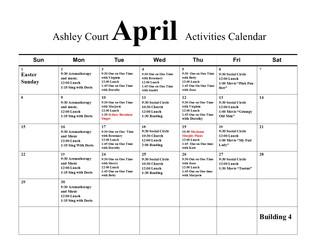 It's April's Newsletter & Calender