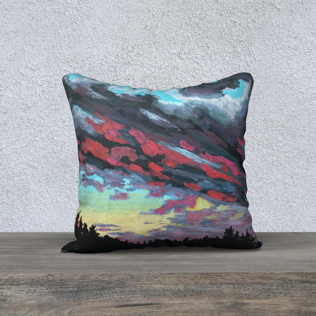 "Tom Thomson Skies, Plush Pillow 18"" x 18"""