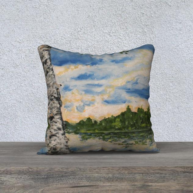 """Sunset Birch, Plush Pillow 18"""" x 18"""""""