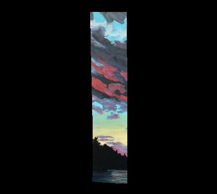 """Tom Thomson Skies, Poly-chiffon scarf 10"""" x 45"""""""