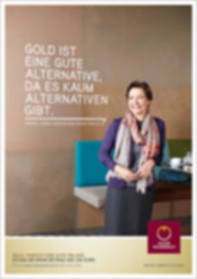 Münze Österreich Werbung Anzeigen Plakat Gold anlegen Design Grafik Werbeagentur Konzept Art Direction Creative Direction Corporate Design Fotografie