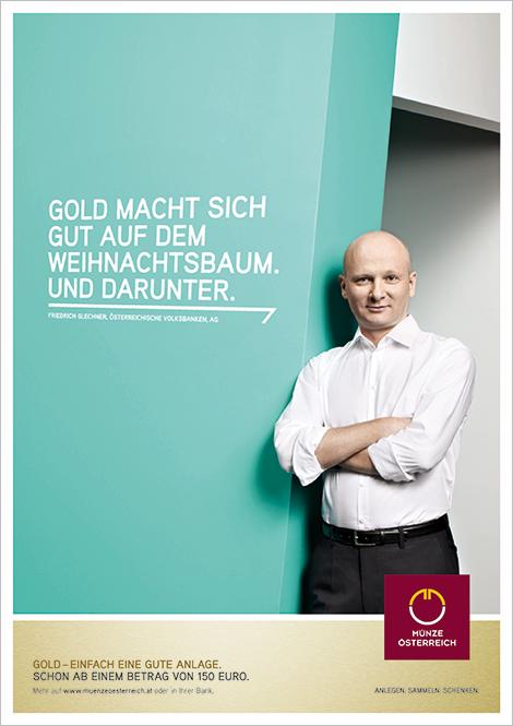 Münze Österreich Werbung Anzeigen Plakat Gold anlegen Design Grafik Werbeagentur Konzept Art Direction Creative Direction Corporate Fotografie