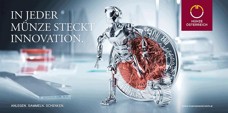 Münze Österreich Brand Design Kamapgne Plakate Anzeigen Folder Mailings