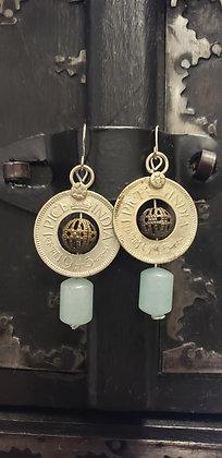 Amazonite coin earrings