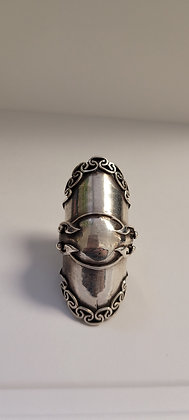 Vintage sterling silver scroll finger armor size 12