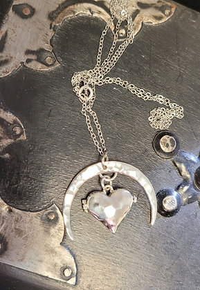 Crescent Moon Heart Locket Necklace