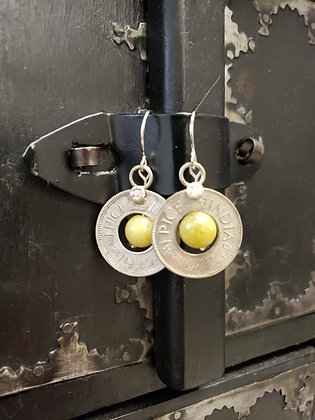 Peridot Coin Earrings