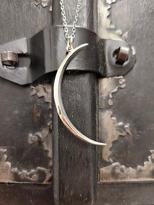 Sterling Silver SlenderCrescent Moon Necklace