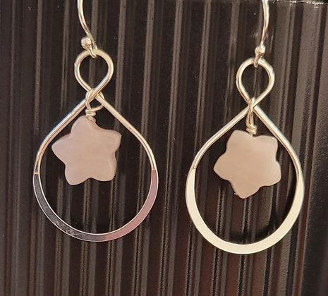 Sterling Silver Rose Quartz Star Earrings