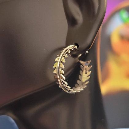 Sterling Silver Fern Hoop Earrings