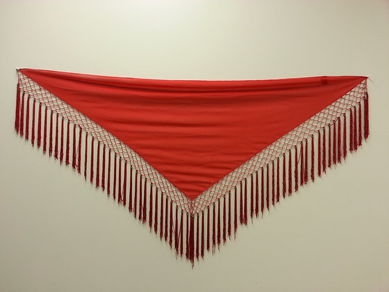 Red Triangle Beaded Fringe Scarf