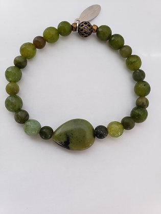 Shimmy Chic bracelet of Olive Agate Stones
