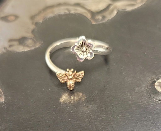 Cherry Blossom Bronze Bee Ring