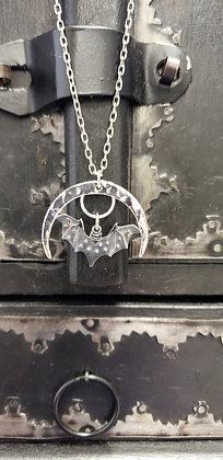 Sterling Silver Crescent Moon Bat Flight Necklace